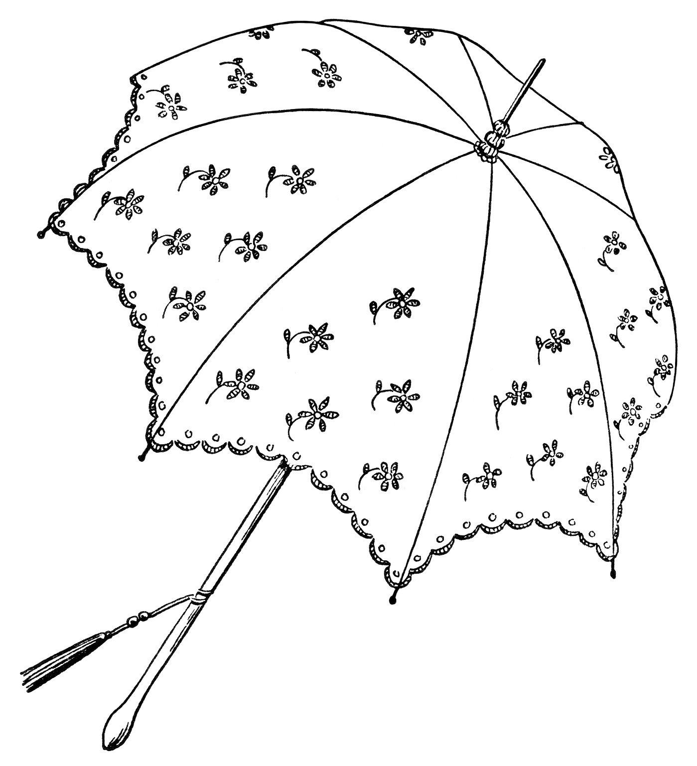 vintage parasol clipart, black and white graphics, umbrella clip art, printable parasol illustration, public domain umbrella