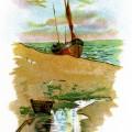 ship on beach scene, sailing ship clip art, quiet beach illustration, beach sea boat clipart, printable beach graphics