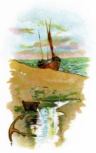 sailing ship on beach scene,vintage ship clip art,quiet beach illustration,beach sea boat clipart,printable beach graphics