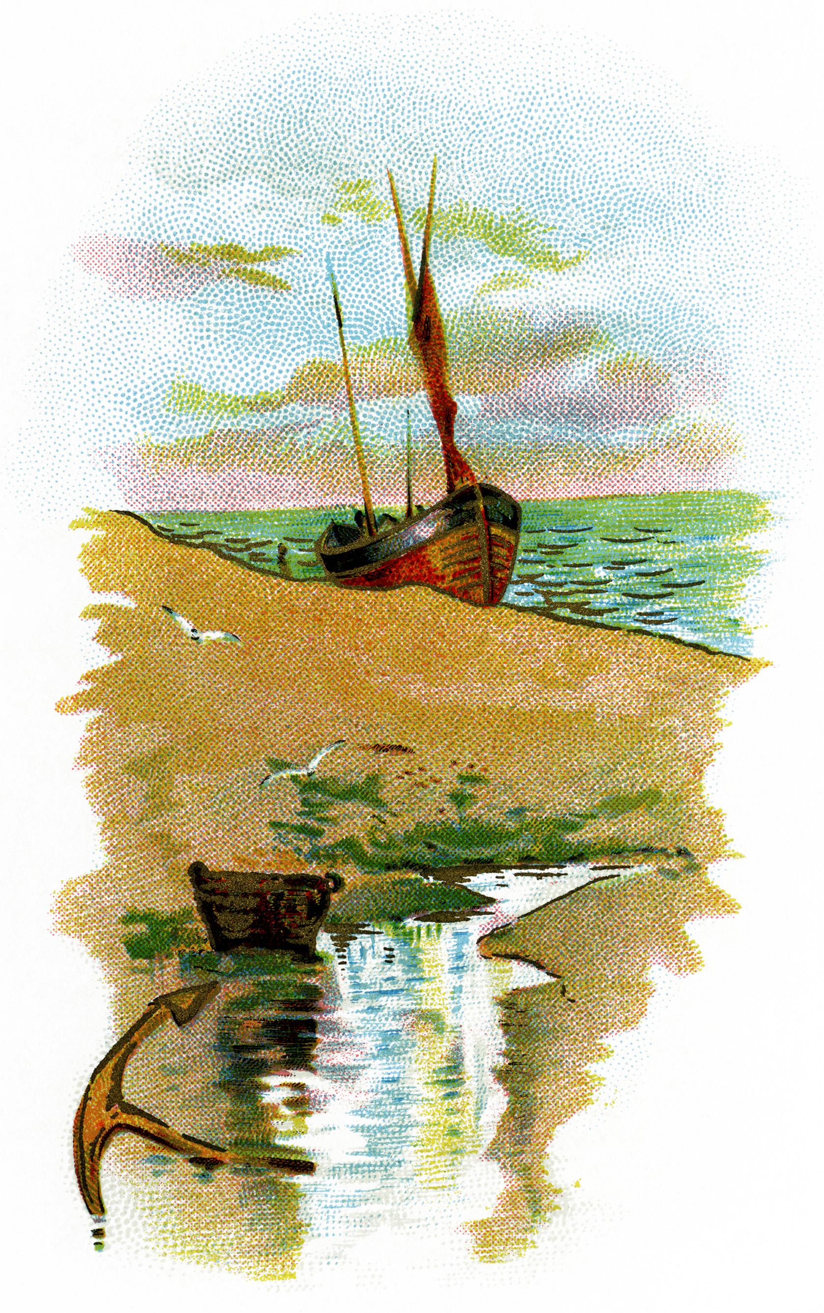 Sailing Ship on Beach Scene