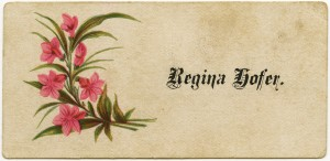Free vintage clip art Victorian calling card flowers calligraphy