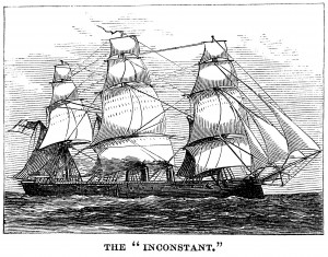 vintage ship clip art, black and white graphics, sea clipart engraving, the inconstant ship, old fashioned sailing ship