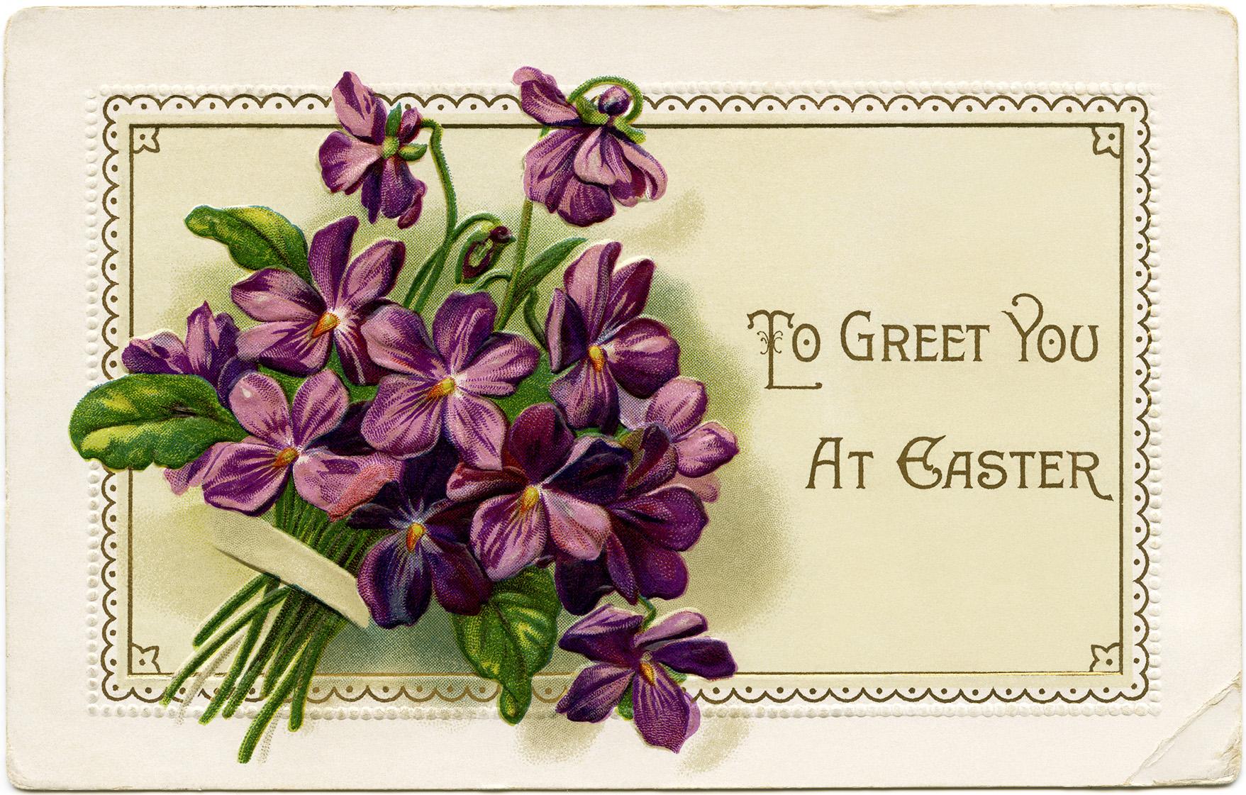 vintage easter postcard, violets clip art, old fashioned easter card, floral easter postcard, bouquet of violets illustration