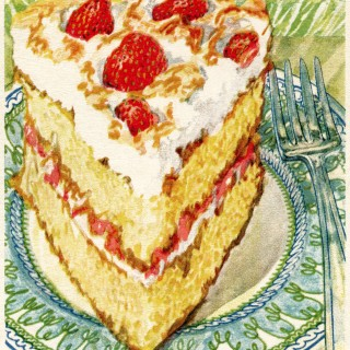 strawberry cake picture,vintage cake clip art,baked goods illustration,vintage kitchen graphics,printable cookbook page,strawberry shortcake recipe