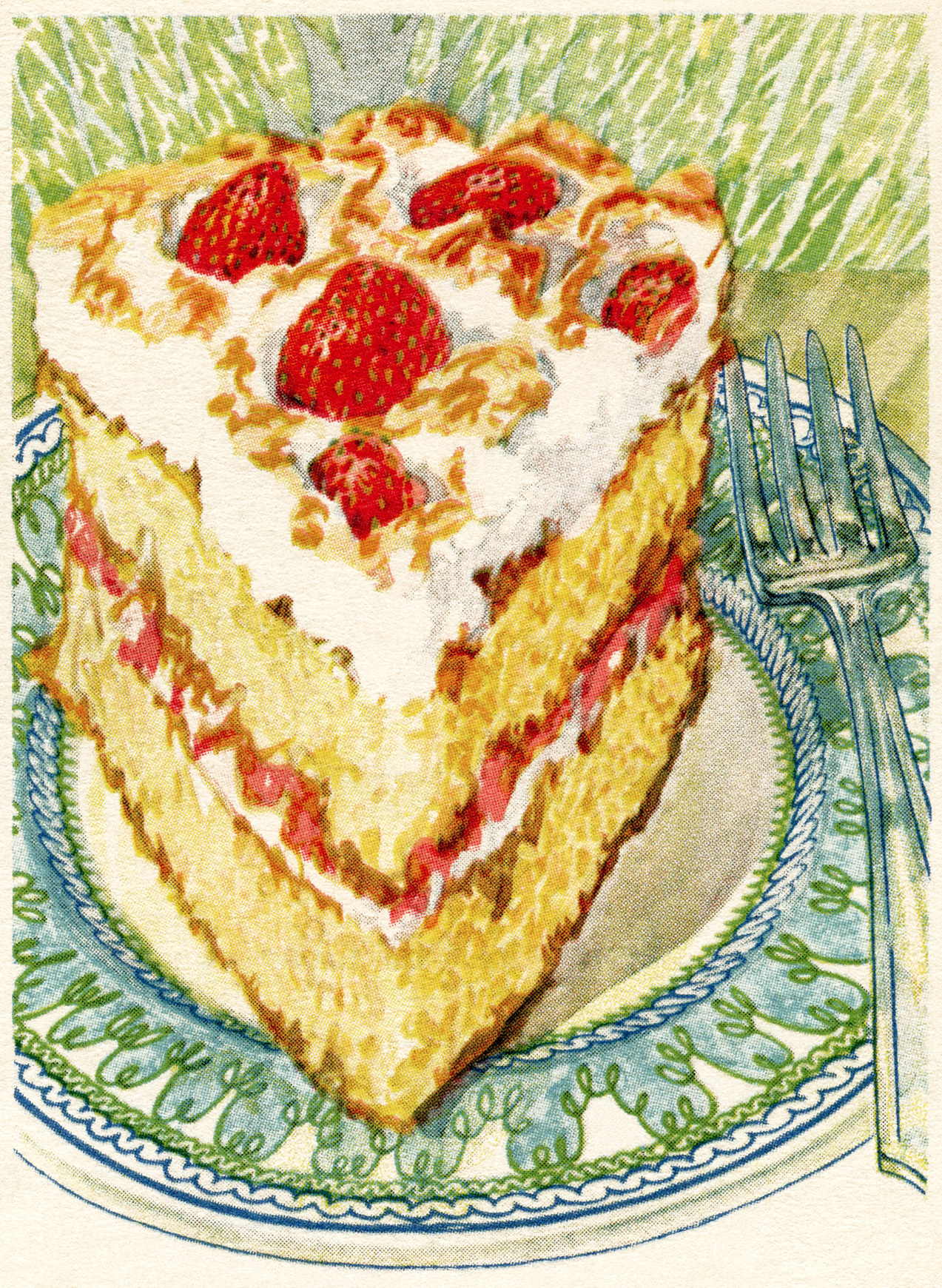 Cake Art Recipes : Strawberry Meringue Cake ~ Free Vintage Graphics Old ...