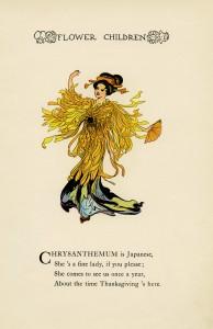 chrysanthemum flower child, Elizabeth Gordon, old book page, vintage flower children poem, vintage storybook printable