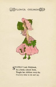 hollyhock flower child, Elizabeth Gordon, old book page, vintage flower children poem, vintage storybook printable
