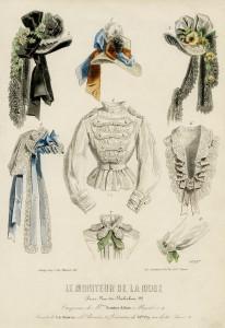 le moniteur de la mode, Victorian fashion plate, vintage clothing image, 1850 French ladies fashion, antique womans clothes clipart