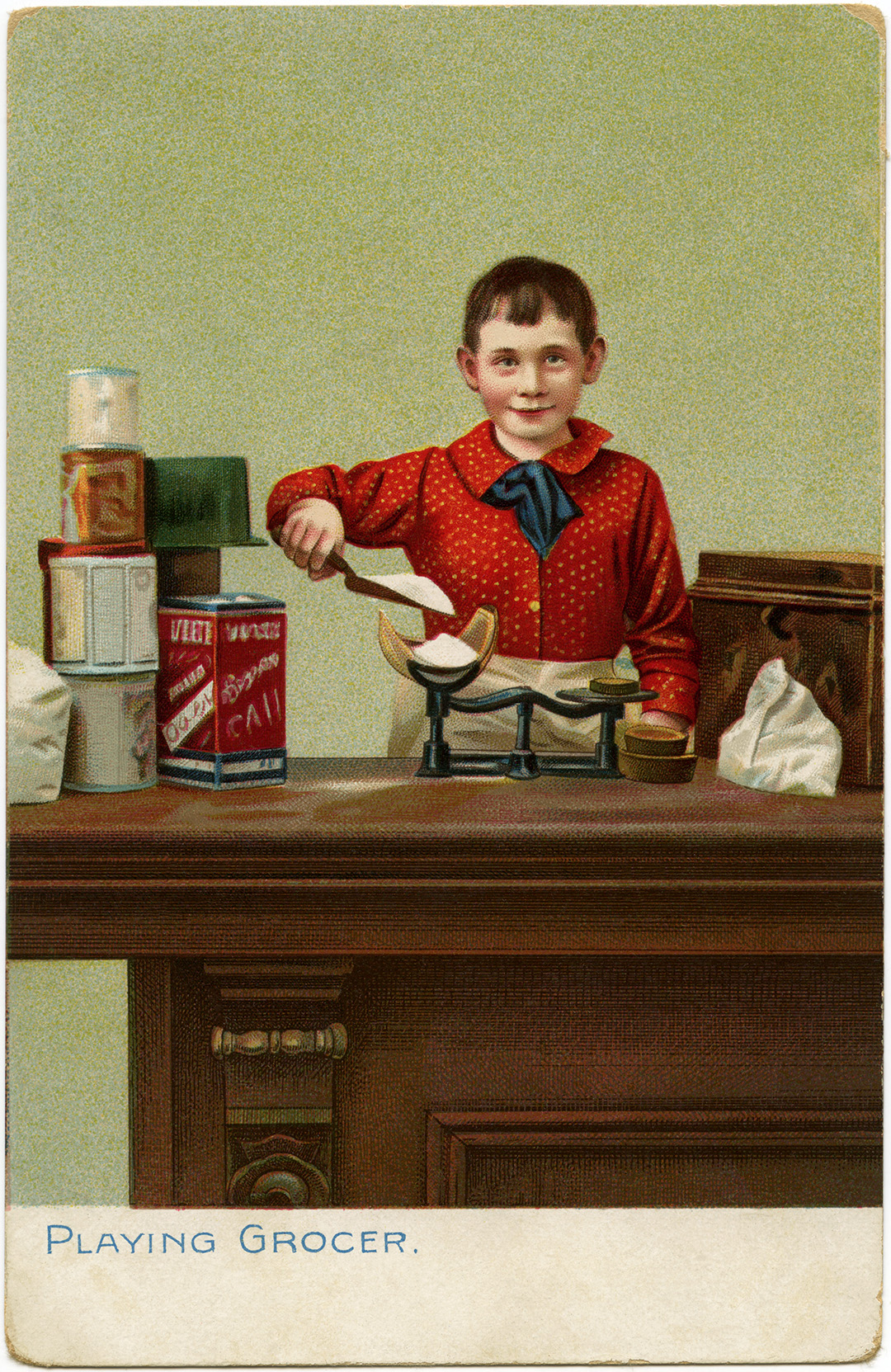 Raphael Tuck and Sons, Playing Grocer, store boy vintage clip art, Victorian child illustration, old fashioned store counter