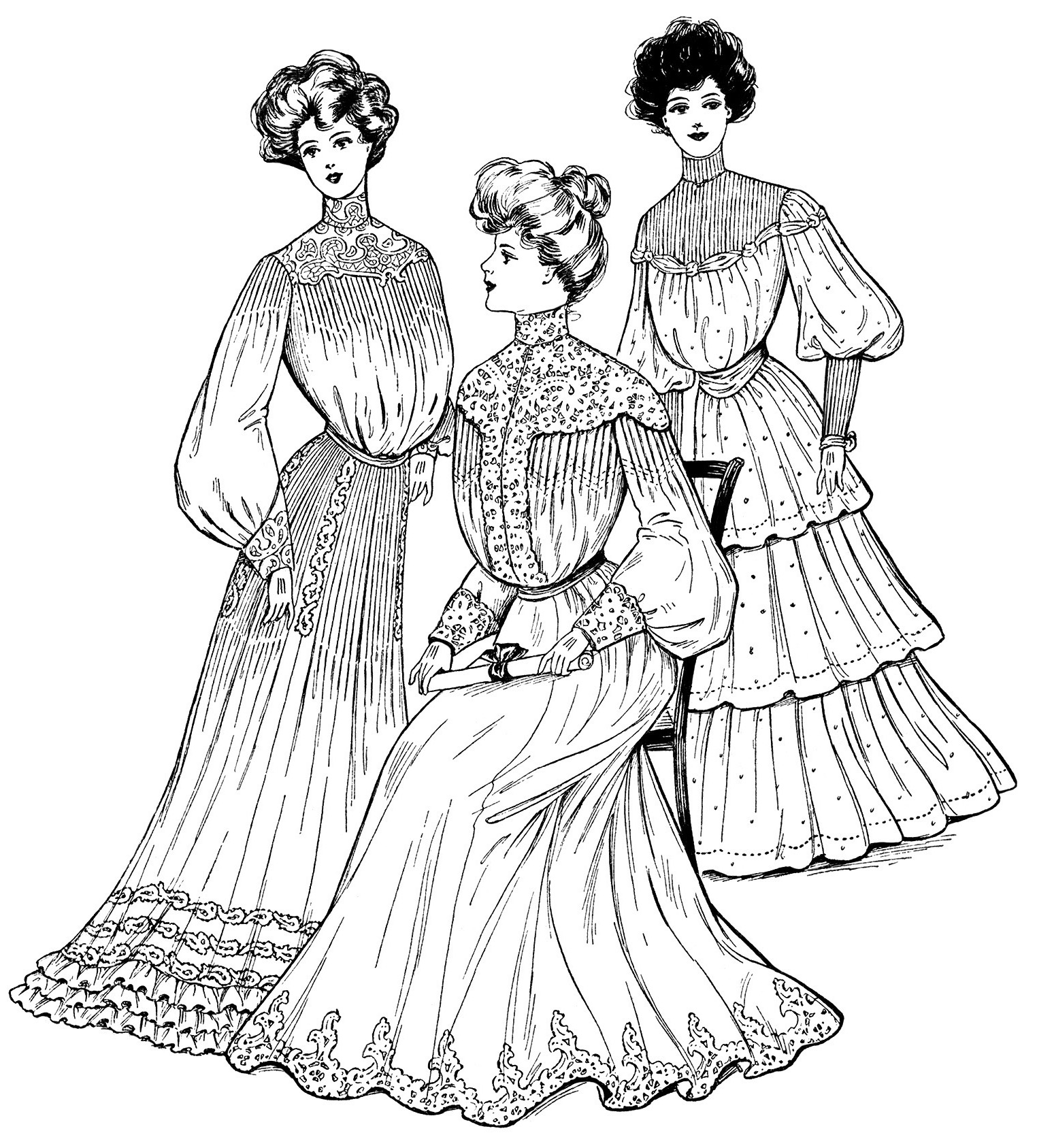 old fashioned halloween coloring pages | Commencement Gowns 1904 - Old Design Shop Blog