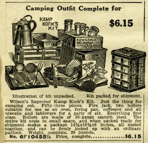 black and white graphics, old catalogue listing, vintage camping clip art, antique camping cookware, camp cook supplies illustration, outdoor kitchen clipart