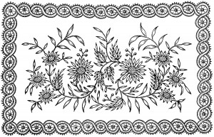 flowers and leaves design, black and white graphics, ornate vintage clip art, vintage embroidery pattern