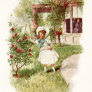 Victorian Girl Discovers a Butterfly