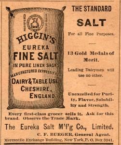 antique magazine ad, Higgins fine salt, old fashioned food advertising, vintage kitchen printable