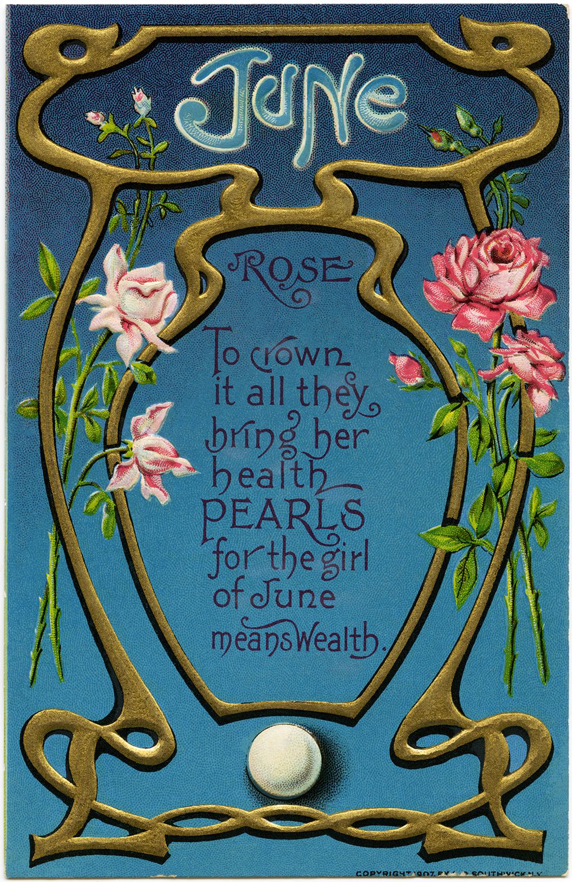 June Rose Vintage Postcard Image Old Design Shop Blog