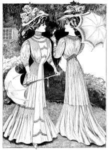 Edwardian fashion sketch, Victorian lady clip art, lady with parasol, black and white graphics, antique dress for woman illus
