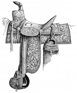 vintage horse saddle, Mexican stamped leather, saddle clip art, black and white graphics