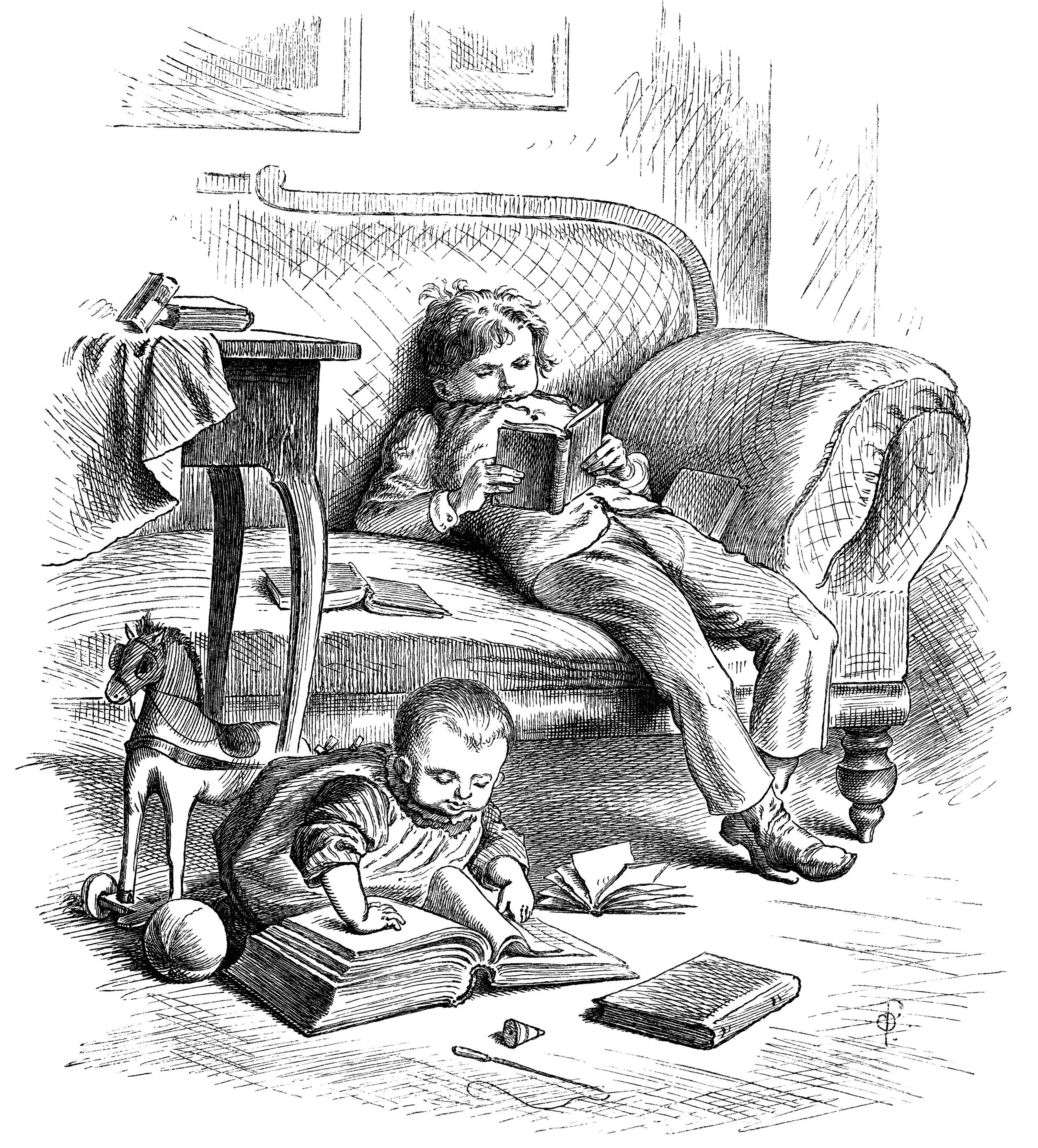 Old Book Illustrations: Victorian Children Enjoy Books