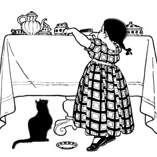 Free vintage clip art girl at table