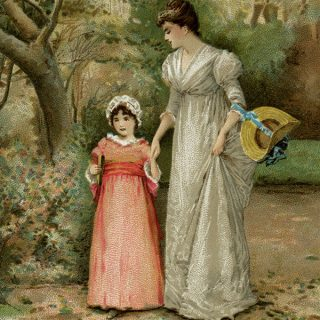 Free vintage clip art mother daughter out for a morning walk