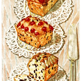 vintage cake clip art, English Dundee cake, baked goods illustration, vintage kitchen graphics, printable cookbook page, old fashioned cake recipe
