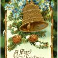 vintage Christmas postcard, Christmas bell clip art, Victorian Christmas card, antique Christmas illustration, printable vintage Christmas