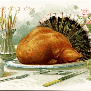 R J Wealthy, antique Thanksgiving postcard, roast turkey clip art, Victorian thanksgiving, vintage turkey graphic, old fashioned thanksgiving card, turkey dinner illustration