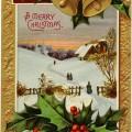 Christmas church scene, vintage Christmas postcard, antique Christmas card, country church printable