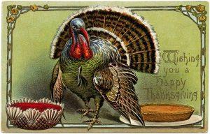 Free vintage Thanksgiving dinner postcard digital