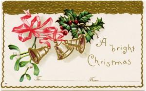 vintage Christmas postcard, Christmas bells clip art, holly berries mistletoe, antique Christmas card