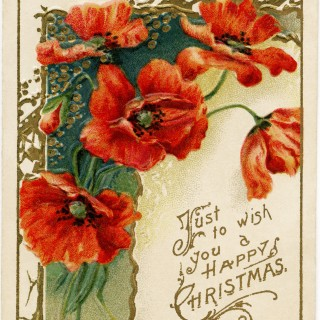 Victorian Christmas card, poppy clip art, poppies card, vintage greeting card, old fashioned Christmas