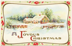 vintage Christmas postcard, old fashioned Christmas, antique postcard graphic, snowy country scene, winter clip art