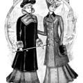 Victorian fashion illustration, Victorian lady, black and white clip art, antique ladies clothing, vintage winter fashion, ladies street toilette