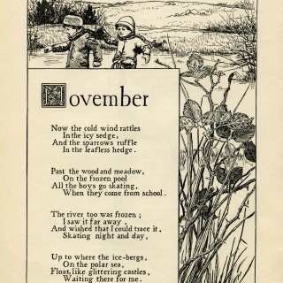 November poem, K Pyle poetry, vintage skating poem, black and white graphics, printable winter clip art