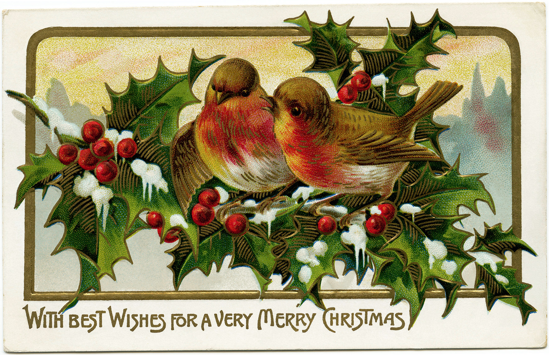 Birds on Branch of Holly and Berries - Old Design Shop Blog