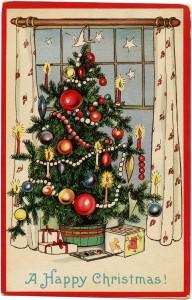 vintage Christmas postcard, decorated Christmas tree, old fashioned Christmas card, printable Christmas image