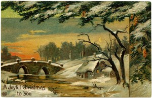 Free vintage clip art Christmas postcard winter evening scene country house by river