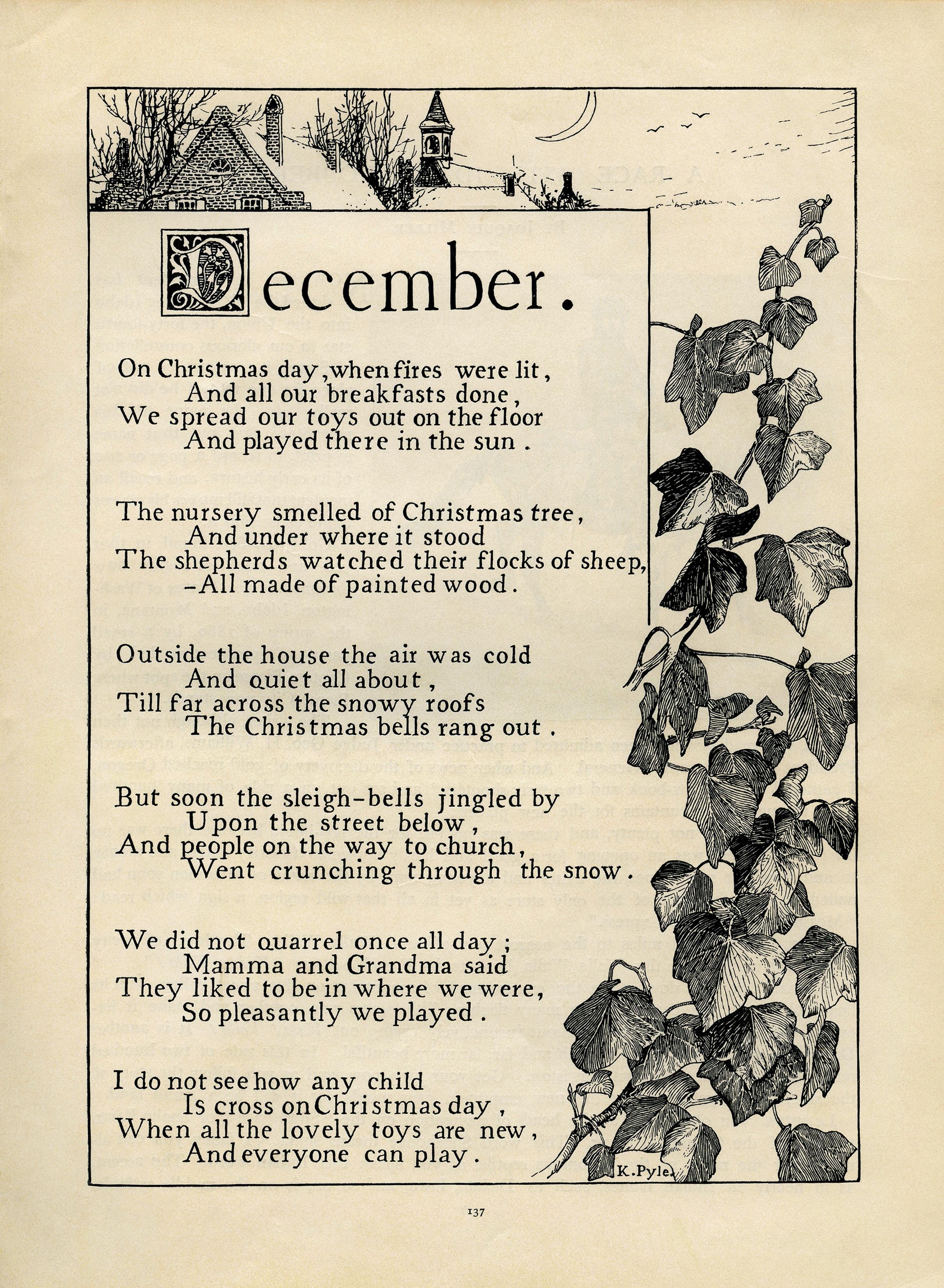 Child Christmas Poetry.December By K Pyle Vintage Poem Old Design Shop Blog