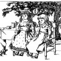 Christmas dolls illustration, black and white graphics, vintage doll clip art, antique toys clipart