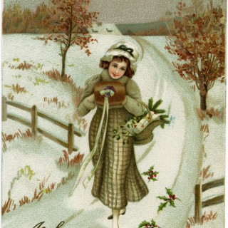 vintage New Year postcard, Victorian lady, antique New Years card, winter clip art, vintage lady graphics