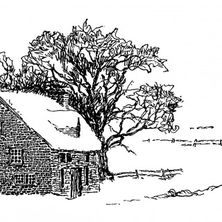 snow covered house, black and white graphics, winter country scene, house in winter clip art, free vintage graphics
