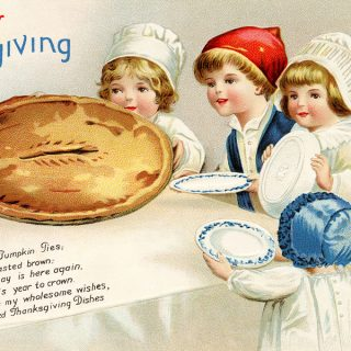 Free vintage clipart Thanksgiving postcard Ellen Clapsaddle children ready to eat large pie