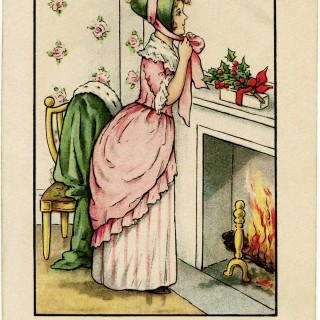 vintage Christmas postcard, Victorian lady Christmas, old fashioned Christmas card, vintage lady clip art, printable Christmas image