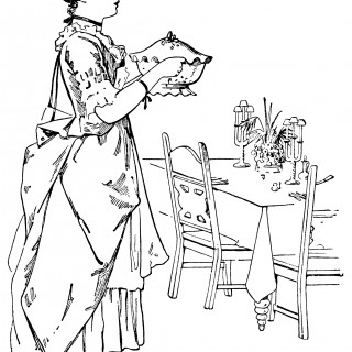 Victorian lady, woman serving food, black and white graphics, vintage kitchen clip art, Victorian maid clipart