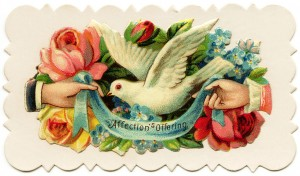 free Victorian calling card clip art rose dove hand
