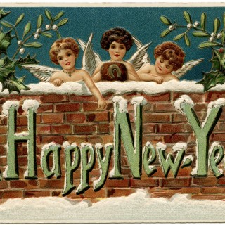 cherubs clip art, vintage new year postcard, vintage new year ephemera, new year card, happy new year graphics