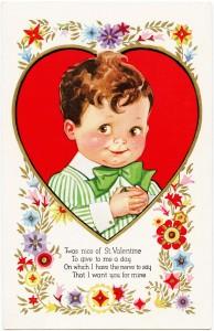 vintage valentine postcard, Victorian boy valentine, old fashioned valentine card, printable valentines day card