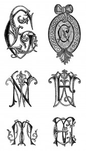 embroidered monograms, black and white graphics, Victorian monogram, alphabet letter designs, fancy alpha graphics