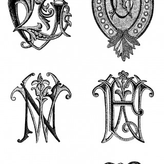 Embroidered Monograms Clip Art