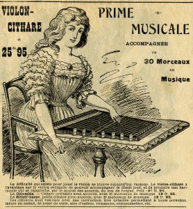 antique French ad, black and white graphics, French clip art, vintage music ephemera, junk journal printable, zither harp illustration